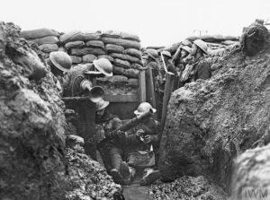 En skyttegrav med soldater