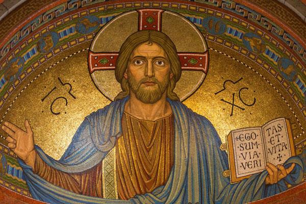Et vægbillede af Jesus Kristus